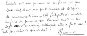 Témoignage manuscrit Carole Marciano